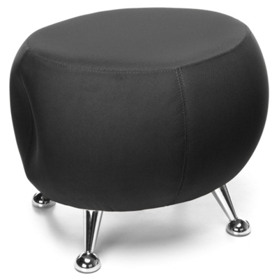 Low Fabric Stool with Chrome Legs