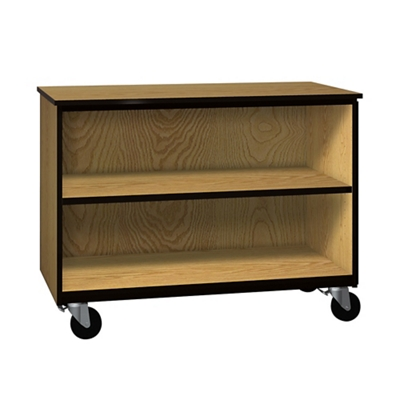 "Two Shelf Mobile Low Open Storage Cabinet - 36""H"
