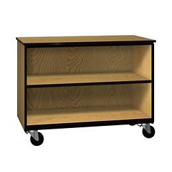 """Two Shelf Mobile Low Open Storage Cabinet - 36""""H"""