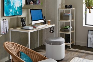 Brite Collection table desk set in a modern industrial room shown zoomed in