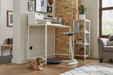 Brite Collection standing desk set in a living room shown at a low angle