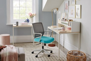 Brite Collection two desk set in an angular room shown at an angle