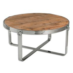 "Solid Fir Wood Coffee Table with Metal Frame - 37.75""DIA"
