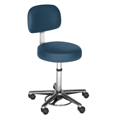 Helix Doctor Stool with Chrome Base and Back Rest