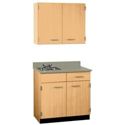 "Cabinet with Left Hand Sink and Wall Cabinet - 36""W"