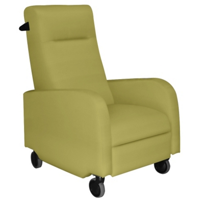Mobile Fabric Patient Recliner with Aluminum Finish Push Bar