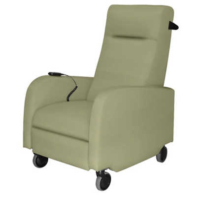 Mobile Battery Motor Assist Patient Recliner with Black Pushbar in Vinyl