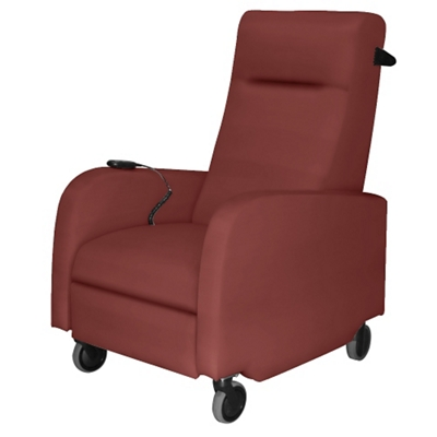 Mobile Motor Assisted Patient Recliner with Black Pushbar in Vinyl