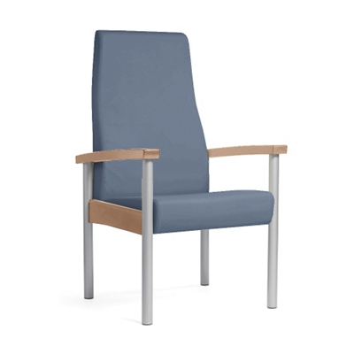 Metal Legged Vinyl High-Back Guest Chair