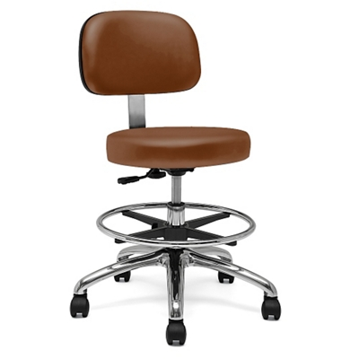 Physician Stool with Back Rest and Foot Ring
