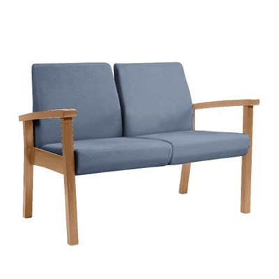 Wood Legged Vinyl Two-Seat Outside Arm Guest Chair