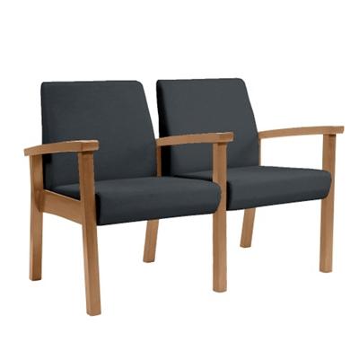 Wood Legged Vinyl Two-Seat Full Arm Guest Chair