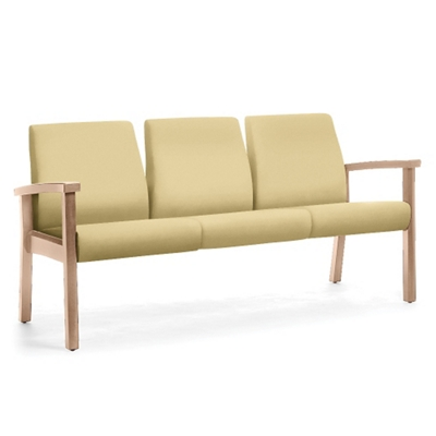 Wood Legged Vinyl Three-Seat Outside Arm Guest Chair
