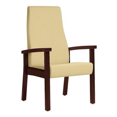 Wood Legged Vinyl High-Back Guest Chair
