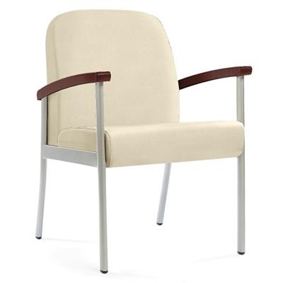 "Wood Arm Vinyl Guest Chair - 21""W Seat"