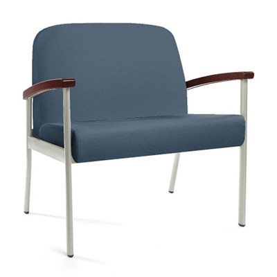 "Wood Arm Vinyl Bariatric Guest Chair - 31""W Seat"