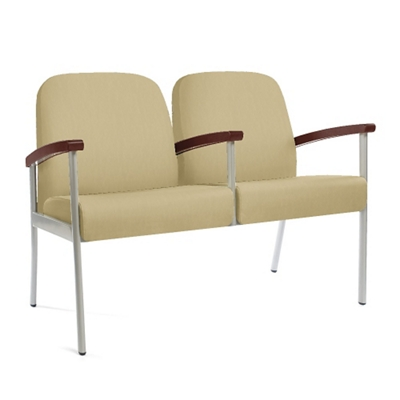 "Wood Half Arm Vinyl Two Seater - 21""W Seat"