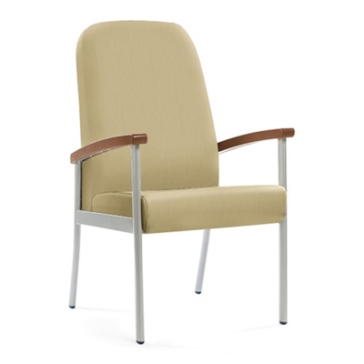 "Wood Arm Vinyl High-Back Guest Chair - 24""W Seat"