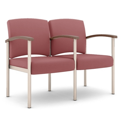 Polyurethane Two Seater with Metal Frame and Center Arm