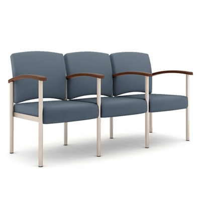 Polyurethane Three Seater with Metal Frame and Center Arm