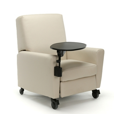Oliver Push-Back Vinyl Recliner with Casters and Tablet Arm