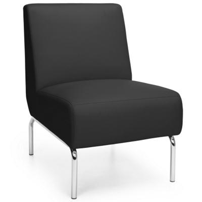 Modular Armless Polyurethane Lounge Chair with Chrome Legs