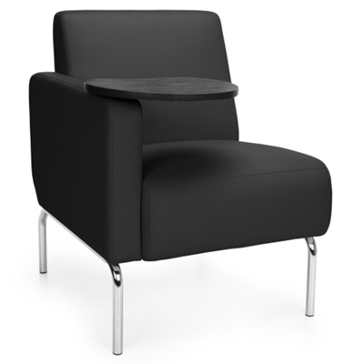 Modular Right Arm Polyurethane Chair with Chrome Legs and Tablet