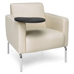 Modular Polyurethane Lounge Chair with Chrome Legs and Tablet