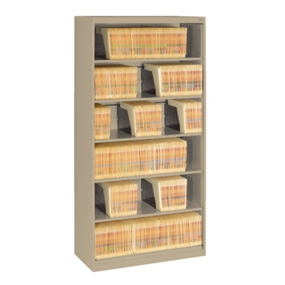 Six Shelf Open Lateral File Shelving Unit