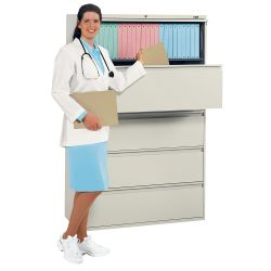 "Five-Drawer 42"" Wide Lateral File"