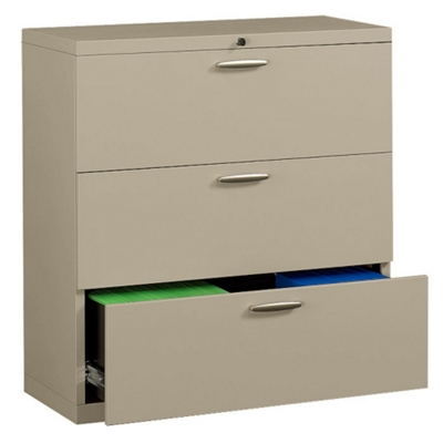 "42"" Wide Three-Drawer Lateral File with Counterweights"
