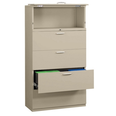 """Five-Drawer 36"""" Wide Lateral File with Counterweights"""