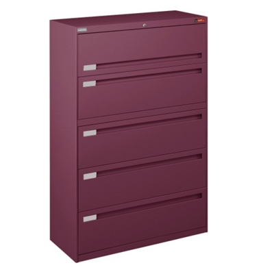 "Spectrum Five Drawer Lateral File with Counterweight - 42""W"