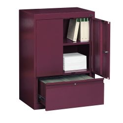 Two Shelf Storage Cabinet with File Drawer