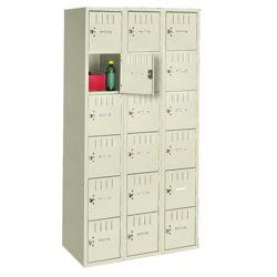 Antimicrobial Six Tier Box Locker Set - Three Wide