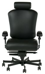 Dauerhaft 24/7 Leather Chair with Headrest and Flip Arms