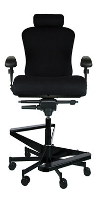 "Dauerhaft 24/7 Two-Step Fabric Stool with Headrest - 23""W Seat"