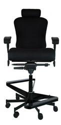 """Dauerhaft 24/7 Two-Step Fabric Flip Arm Stool with Headrest - 23""""W Seat"""