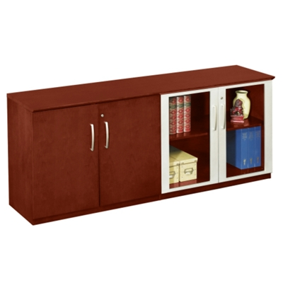 Storage Credenza with Wood and Glass Doors