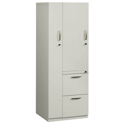Left Hand Two-Drawer Storage Tower Cabinet