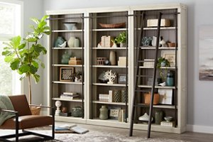 Large bookcase wall with library ladder