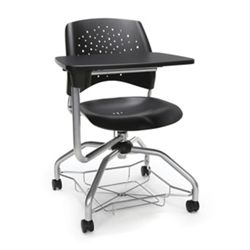 Plastic Tablet Arm Student Chair with Under-Seat Basket