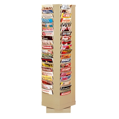 Revolving Literature Rack with 80 Magazine Pockets
