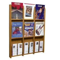 Wood Twelve Pocket Magazine and Brochure Rack