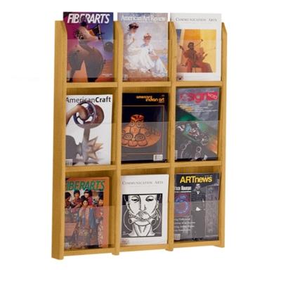 Wood Nine Pocket Magazine Rack