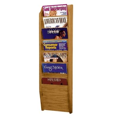 Wood Seven Pocket Magazine Rack