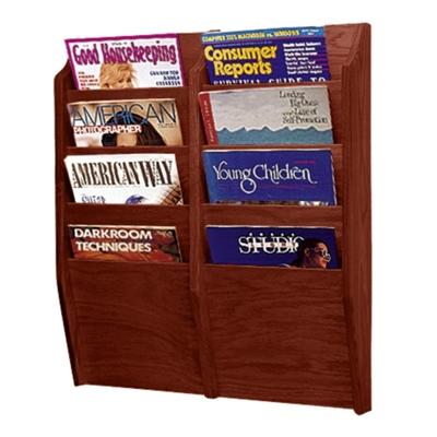 Wood Eight Pocket Magazine Rack