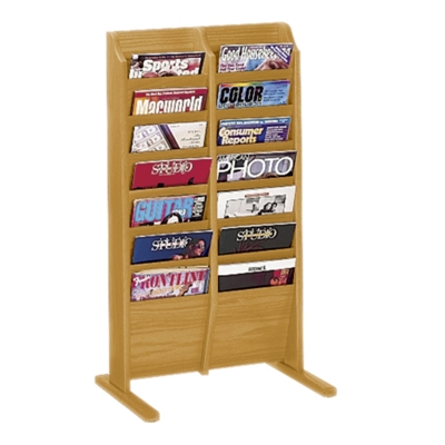 Literature Rack with 14 Magazine Pockets