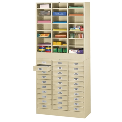 Letter Size Stackable 30-Drawer Cabinet with Literature Organizer