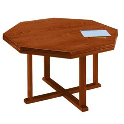 "Solid Oak Octagonal Conference Table - 48""W"